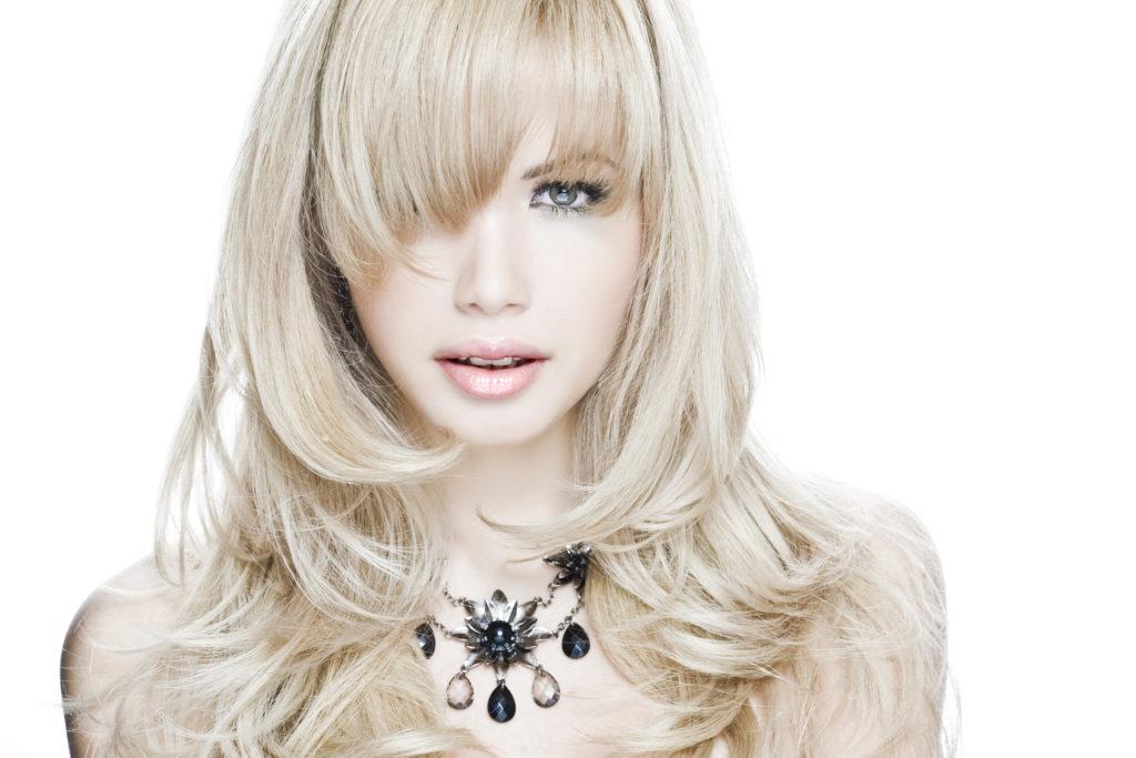 Sexy Medium Length Layers On Long Hair Diagonal Bang And Ash Blond