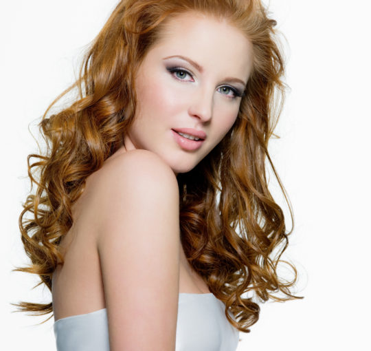 Soft Red Auburn- Copper Hair Color Long Layers Womans haircut and Style. Curling Iron Medium Curls