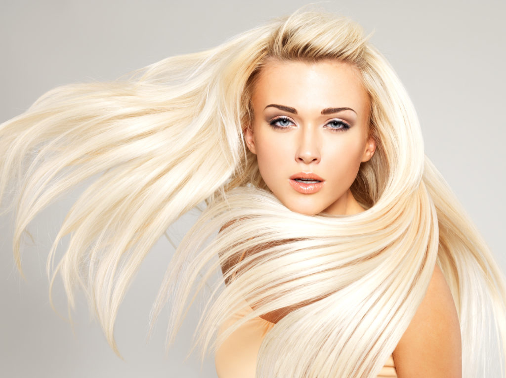 smooth one length, vanilla blond hair color on golden