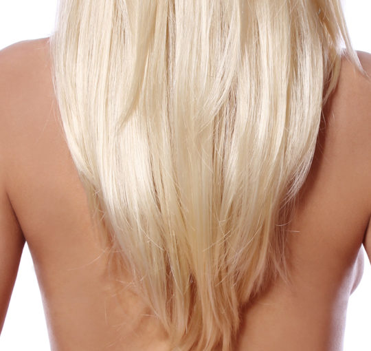 V shaped, Smooth round layering technique here on this long womens hairstyle to middle of back